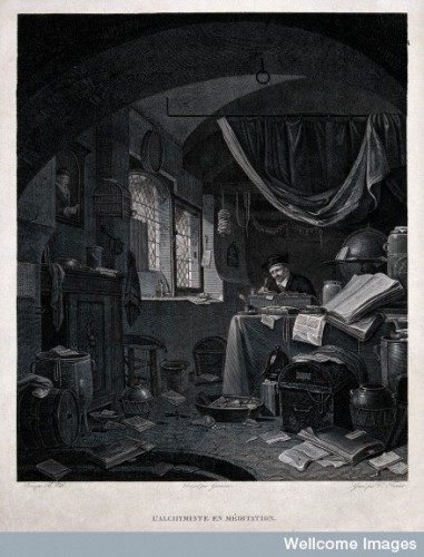 An alchemist peacefully writing in a room strewn with papers Credit: Wellcome Library, London.