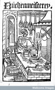 Woodcut of kitchen from Kuchenmeisterey Credit: Wellcome Library, London.